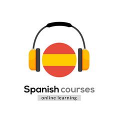 Spanish language learning logo icon vector