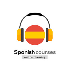 Spanish language learning logo icon with vector