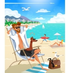 Summer Holiday Man On Beach vector