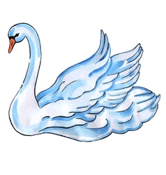 Swan with lift wings vector image