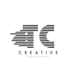 Tc t c zebra letter logo design with black and vector