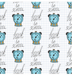 Time back to school seamless pattern with alarm vector