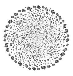 Trash bin centrifugal globula vector