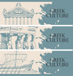 Travel banners on theme greek culture vector