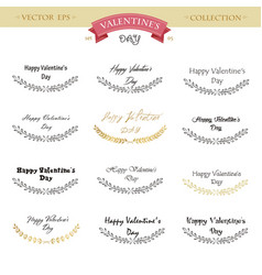 valentines day lettering design set calligraphic vector image