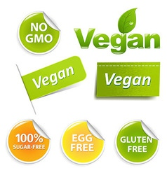 Vegan Labels Set vector