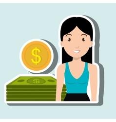 Woman dollar money vector