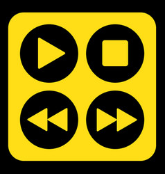 yellow black sign - four music control buttons vector image