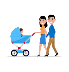 couple parents with a stroller and a child vector image vector image