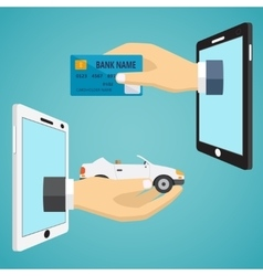 Hands with car and credit card vector image vector image