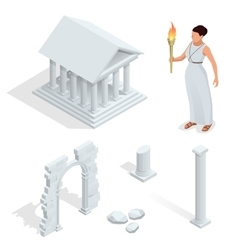 Isometric Greek temple Greek goddess of beauty vector image vector image