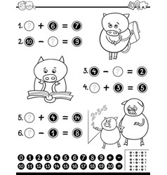 mathematical worksheet for coloring vector image