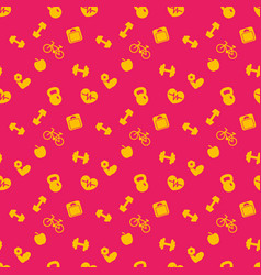 seamless pattern with fitness icons background vector image