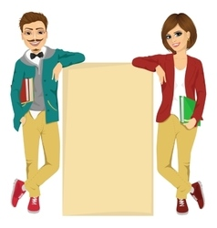 students leaning against a blank board vector image vector image