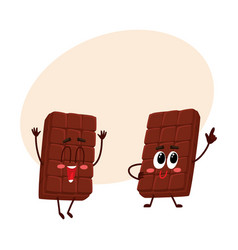 two funny chocolate bar characters one jumping vector image vector image