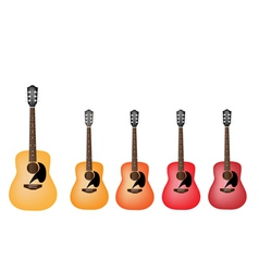 Beautiful Red and Orange Colors of Acoustic Guitar vector image