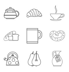 eating for tea icons set outline style vector image vector image
