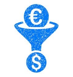 Euro dollar conversion funnel grunge icon vector