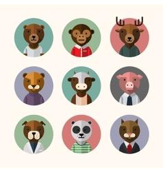 Flat design style animal avatar icon set vector image vector image
