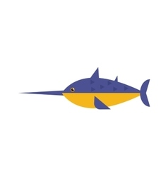 Saw fish marine flat vector image