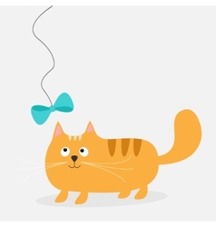 Cute cartoon fat red cat with bow Card Kids vector image vector image