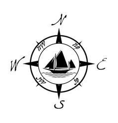 flat yacht icon with compass vector image vector image