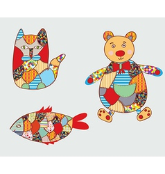 Patchwork toys vector image vector image