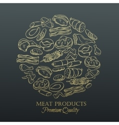 Set hand drawn monochrome icon meat vector image vector image