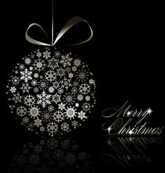 silver merry christmas postcard vector image vector image