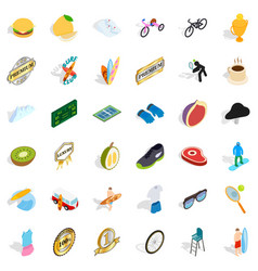 win icons set isometric style vector image