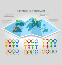 world map 3d paper with pins vector image vector image
