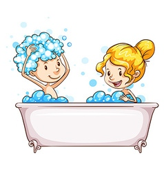 A girl and a boy at the bathtub vector image