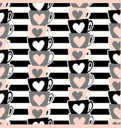 cute cups pattern vector image vector image