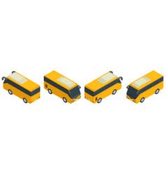 isometric yellow minibus collection urban vector image