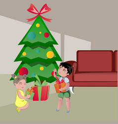kids opening gifts on christmas vector image