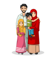 Muslim Family Cartoon Characters vector image vector image
