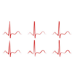 set the pulse hand drawn red heartbeat icon vector image