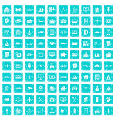 100 private property icons set grunge blue vector image