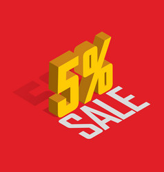 5 percent off sale golden-yellow object 3d vector
