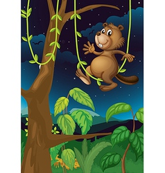 A beaver in the dark forest vector