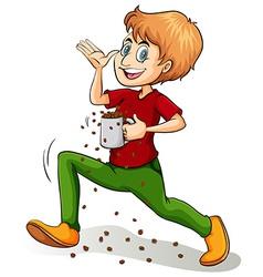 A boy holding a mug vector image