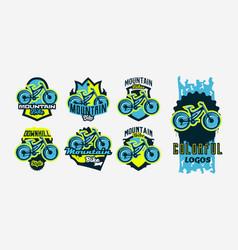 A colorful collection logos emblems mountain vector