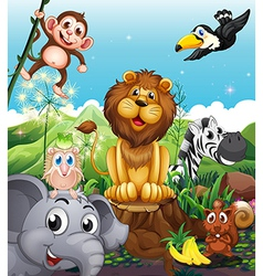 A lion above the stump surrounded with playful vector