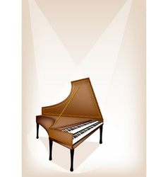A Retro Harpsichord on Brown Stage Background vector image
