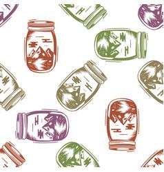 Adventure jar bottle seamless pattern with vector