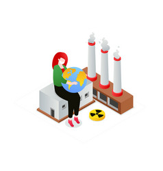 air pollution - modern colorful isometric vector image