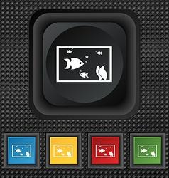 Aquarium Fish in water icon sign symbol Squared vector image