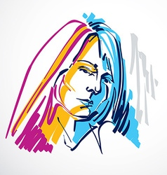 art drawing portrait of romantic girl isolated on vector image