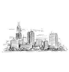 artistic drawing generic city high rise vector image