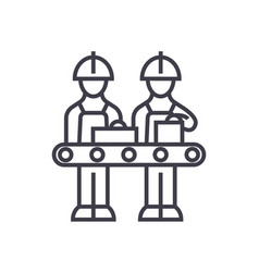 Assembly line line icon sign vector